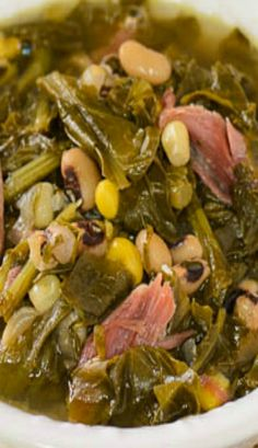 Basically, all you do is put the ingredients in a pot and let it simmer for hours. There are black-eyed peas and corn in it to make it southern-style. It has a hint of heat from pepper sauce.