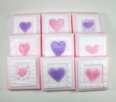 9 Valentine Soaps - Valentines Day, Valentines Day Party, School Valentines, party favor, heart soaps, quilt soaps, stamp soaps by WizardAtWork on Etsy