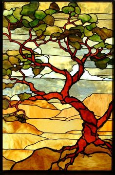 Landscape stained-glass-mosaic