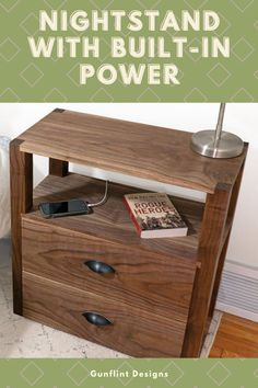 Mark over at Gunflint Designs got sick of having to put his phone and alarm clock halfway across the room--so he decided to build something to fix that! This incredible nightstand has built-in power, so you can plug in your phone charger, your desk lamp, or anything else youd like. Check out his build here!  #createwithconfidence #gunflintdesigns #nightstand #builtinpower #diynightstand