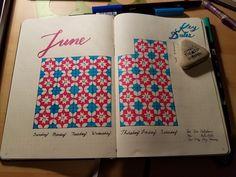 June bullet journal planner calendar spread. Moroccan tile design theme. June 2018.