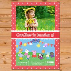 Peppa Pig Invitation Red Stars * Peppa Pig Invite * Peppa Pig Birthday Party * Peppa Pig Printables by PartyPrintables37, $7.99 USD