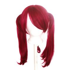 Nanako - Burgundy Red Wig 18'' Pigtails with Part and Long Bangs