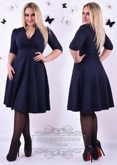 Платье батал стильное приталенное клешный низ глубокое декольте темно-синий
