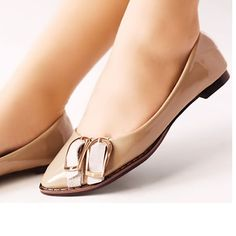 Beige Flat Patent Leather Bridesmaid Prom Dress Shoes Flats for Women SKU-1090274
