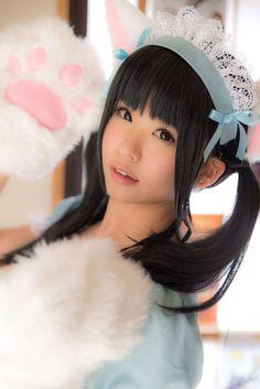 ★○•kawaii meido . . .nekomimi. . .cat girl. . .pastel. . . cosplay. . . maid. . .cute asian girl•○★