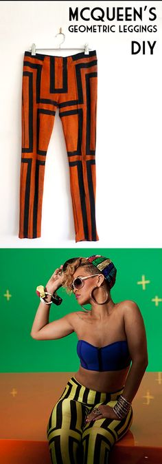 Make your own DIY McQueen's geometric leggings like the ones worn by Rihanna on her Rude Boy clip Tutorial in Spanish with lots of pictures!
