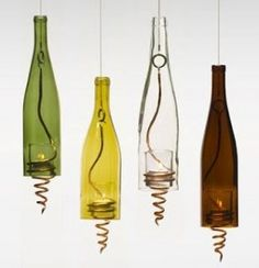 What do do with empty bottles-- bottle candles Wine Bottle Chandelier, Wine Bottle Candles, Recycled Wine Bottles, Wine Bottle Corks, Bottle Lights, Wine Bottle Crafts, Glass Bottles, Empty Bottles, Cut Bottles