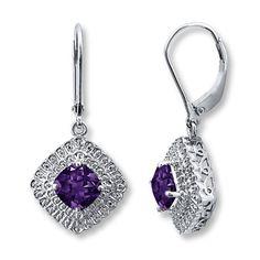 Amethyst Earrings Diamond Accents Sterling Silver