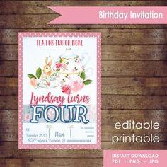 Digital Tea Time Birthday Invitation