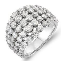 3.25 Carat (ctw) 14k White Gold Round Diamond Ladies Cocktail Right Hand Statement Ring (Size 7)