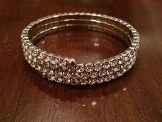 Vintage bracelet #4 free size rhinestone, simple and elegant. in Jewelry & Watches | eBay