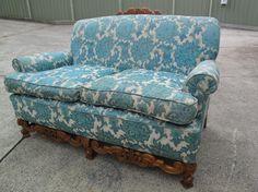 2ndhandShop  French Style Vintage Sofa 2 Seater Cafe Blue Brocade Sofa  $395.00