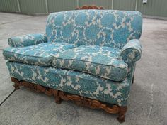 2ndhandShop  French Style Vintage Sofa 2 Seater Cafe Blue Brocade Sofa  $395.00