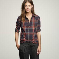 J Crew Stewart Plaid Shirt ~ Black Pant