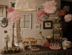 Vintage pink baby shower. Lots more pics on the site!
