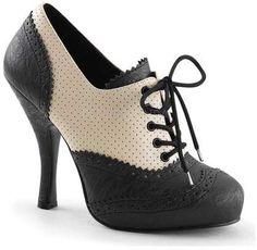 9efe51209cffed Women s Pin Up Couture Cutiepie 14 - Cream Black Distressed PU Heels Schöne  Schuhe