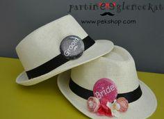 Kişiye Özel Gelin Damat Şapkaları Rozetli Çiçek Süslemeli Düğün Şapkaları