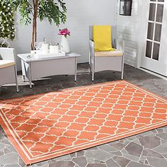 Courtyard Terracotta / Bone 5 Feet 3 Inch x 7 Feet 7 Inch Indoor/Outdoor Area Rug  Safavieh  Model # CY6918-241-5 | Store SKU # 1001025135   0    Write a Review  Questions & Answers 0  $165.00