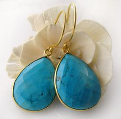 Medium Natural Turquoise Drop Earrings Blue Turquoise by ByGerene, $55.00