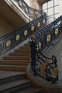 Luxury Custom Designed homes are full of little items that make the home one of a kind. Staircase Railing Design, Luxury Staircase, Interior Stair Railing, Wrought Iron Stair Railing, Grand Staircase, Interior Wood Shutters, Stairs Window, Timber Roof, Hotel Room Design