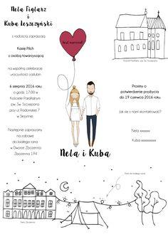 Super cute fold out wedding invitation by Blanka Biernat #customportrait #wddinginvitation #love