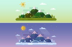 Summer & Winter Landscapes by MilkyM on Creative Market