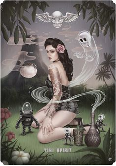 Tom Bagshaw - Tiki Spirit   Tikis, ghosts, a pinup, and ROBOTS?? Does it get any better????