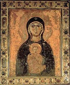 Nicopeia Madonna / Maria Nicopeia   Crusaders seized Victory icon from a Byzantine general's chariot during the Siege of Constantinople in 1203 and brought it to Venice, where it was installed in Basilica di San Marco. Attributed to St. Luke the Evangelist, dated to 800s.
