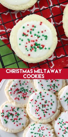 christmas treats Meltaway cookies are a soft, lightly sweet shortbread cookie that literally melts away in your mouth. Top it with a thin glaze and red and green sprinkles for a festive Christmas cookie treat. Christmas Sugar Cookies, Christmas Snacks, Christmas Cooking, Holiday Treats, Christmas Parties, Christmas Time, Christmas Sprinkles, Holiday Recipes, Christmas Cupcakes