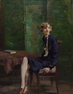"""Rudolf Nissl (Fügen (Oostenrijk) 1870-1955 München (Duitsland)) Zittende jonge vrouw """""""