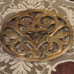 Solid Brass Victorian Heart Trivet from Smithsonian Museum DC