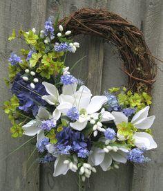 Floral Wreath, Spring Door Wreath, Summer Wreath, Wedding, Mother's Day Gift