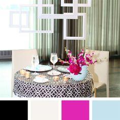 aqua color palette | Black-and-White, Aqua and Fuchsia Color Palette