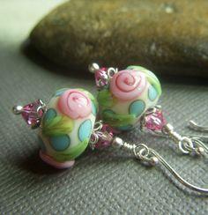 Floral Lampwork Earrings on Sterling-luv the bead caps