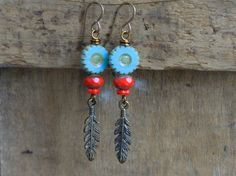 Turquoise & Red Czech Glass Earrings with by GillsHandmadeJewels