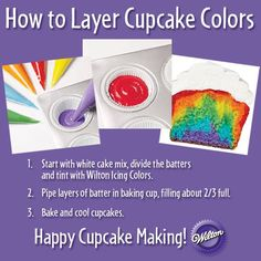 Have fun with your cupcake batter! Create patterns just by piping different color batters in the baking cup using a disposable decorating bag. Have you tried this yet?