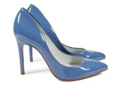 Aneley, glossy high heel pump in blue gloss patent.   Pedro Garcia Shoes Spring-Summer 2015   Made in Spain