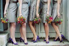 Washington, DC wedding: lovely bridesmaids in neutral J.Crew frocks and purple heels with wildflower bouquets #9172011 // bridesmaid dress // jcrew // wildflower bouquet with twine // Hotel Monaco // September // metallic beige // peep toe pumps