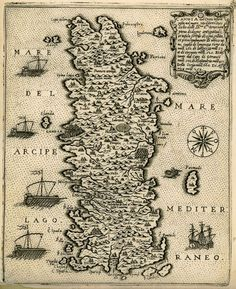 Map of Crete by Canocio, 1574