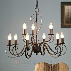 Kroonluchter Caleb in landelijke stijl, 9-lamps   Lampen24.nl