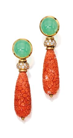 PAIR OF 18 KARAT GOLD, CORAL, CHRYSOPRASE AND DIAMOND EARCLIPS, BULGARI Suspending coral drops carved and pierced with floral motifs, topped by two round chrysoprase cabochons measuring approximately 11.9 mm, accented by round diamonds weighing approximately 1.20 carats, gross weight approximately 21 dwts, signed Bulgari.