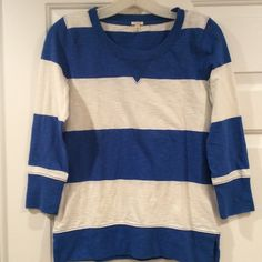 I Crew blue and white stripe cotton shirt 3/4 sleeves, 100% cotton. Casual but in good shape. J. Crew Tops