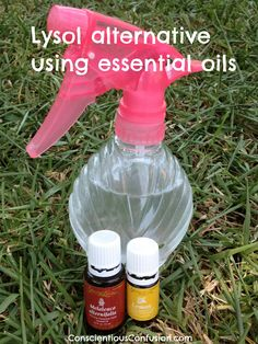 Lysol alternative: essential oil disinfectant spray.  Mix 1 1/2 cup water, 5 drops lemon oil, & 5 drops Melaleuca Alfornia Oil.  All Natural disinfectant.