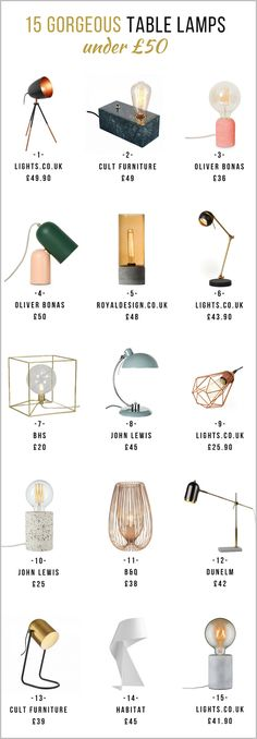 15 gorgeous table lamps under £50