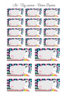 Unicorn Themed Birthday, Unicorn Birthday Invitations, Unicorn Party, Printable Labels, Printable Stickers, School Name Labels, Handwriting Practice Paper, Cupcake Toppers Free, Creative Instagram Photo Ideas