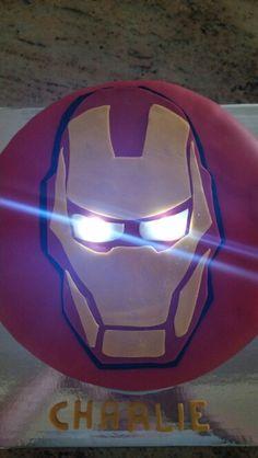 Iron Man light up eyes cake