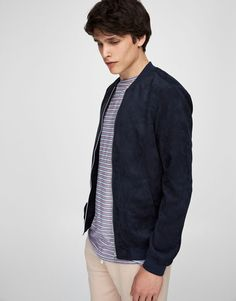 Faux suede bomber jacket with zip - Coats and jackets - Clothing - Man - PULL&BEAR Singapore