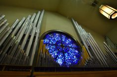 Pipes in the choir loft by Tommy Crawford on Capture Memphis // Beautiful stain glass surrounded by beautiful sound at Holy Rosary Catholic Church