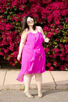 Plus size pink ruffle dress and mirrored sunglasses by 'Sometimes Glam'. For more inbetweenie and plus size style ideas go to www.dressingup.co.nz